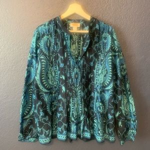 TALBOTS Pleated Sequined Printed Blouse